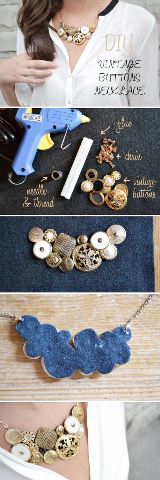DIY Vintage Button Necklace...