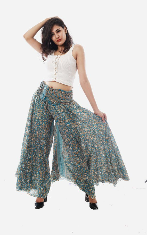 c0f2802f6d Indian Fusion Designer Umbrella Palazzo - Hippie Boho Women's Trouser -  Summer Wear Floral Print Umbrella Trouser Pant - Boho Gypsy Palazzo ...