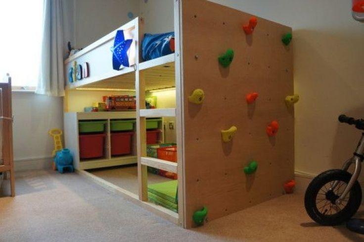 Climbing wall!  So cool!  mommo design: 8 WAYS TO CUSTOMIZE IKEA KURA BED