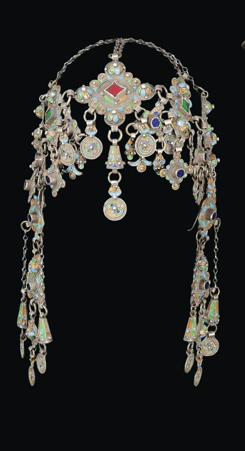 Morocco | Headdress; silver filigree work, coral and glass insets, enamel | ca. 19th century, Anti Atlas region | Sold