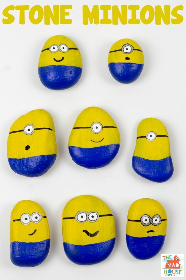 Stone Minions. Join in with the Minion Madness by making these Minions from stones or rocks with your children. This is a super simple kids craft activity.