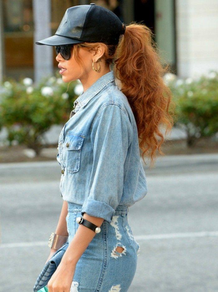 17 meilleures id es propos de coiffure rihanna sur - Avec quoi porter une chemise en jean ...