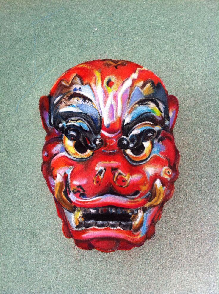 Foodog mask #japanese Prismacolor drawing  Www.facebook.com/brendamkelly