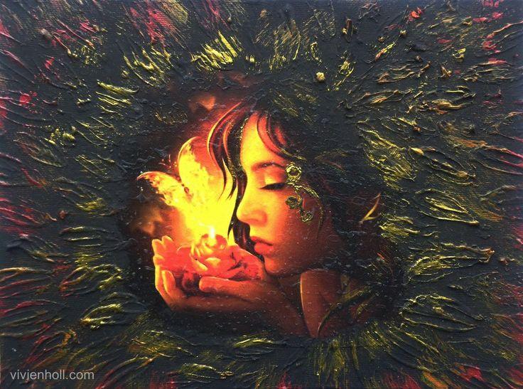 Fire (Láng) - Paverpol, 24x 18 cm, 2016  http://www.vivienholl.com/en/portfolio-items/paverpol-fire/  #paverpol #fire #girl