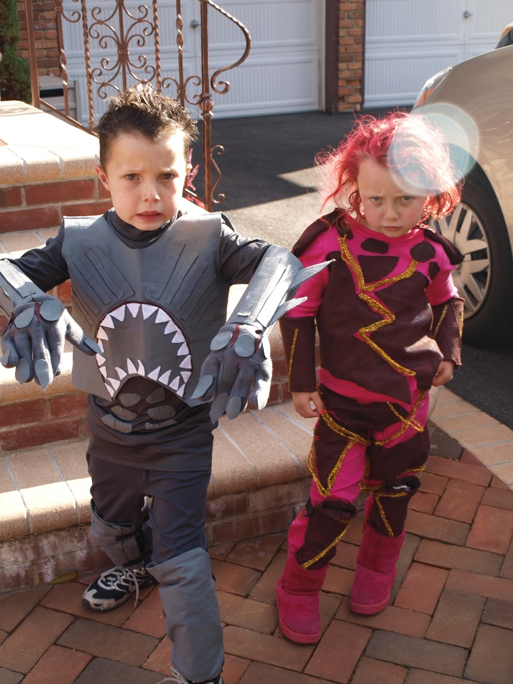 Home Made Shark Boy And Lava Girl Halloween Costumes. A