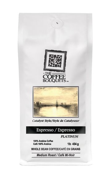 Platinum Espresso 100% Arabica Blend Medium-Dark roast.  Cocoa, caramel and citrus fruit flavours harmonize together and are accented by almond and floral undertones exciting your palate. Beautiful gold-coloured crema serves as a finishing touch to this delicate masterpiece.  http://www.thecoffeebouquets.com/shop.asp