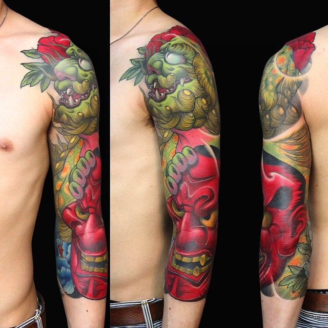Karajishi and Hannya by Horiei | japanese tattoos