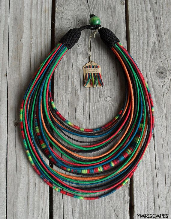 Gorgeous tribal yarn necklace inspired by Polish folklore of the famous Lowicz region. Dark, vibrant colors and stunning look!    Reminiscent of