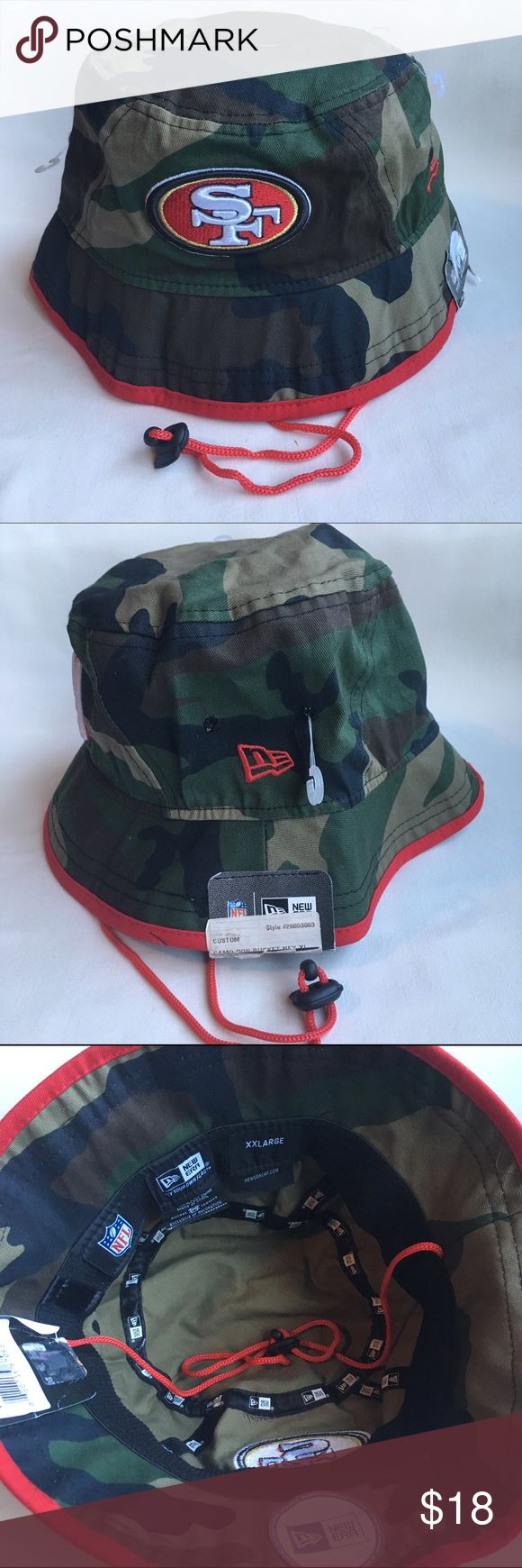 San Francisco 49ers Camo bucket hat New w/ tag! Never worn!  NFL San Francisco 49ers Camo bucket hat by New Era  Size XXL New Era Accessories Hats