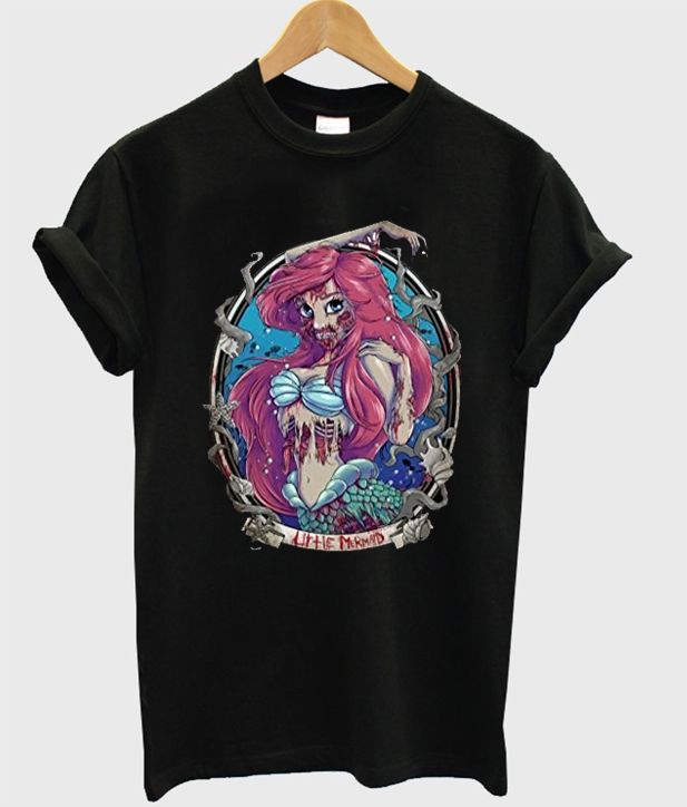Zombie Disney Princess Ariel Mermaid Tshirt gift adult unisex custom clothing Size S-3XL
