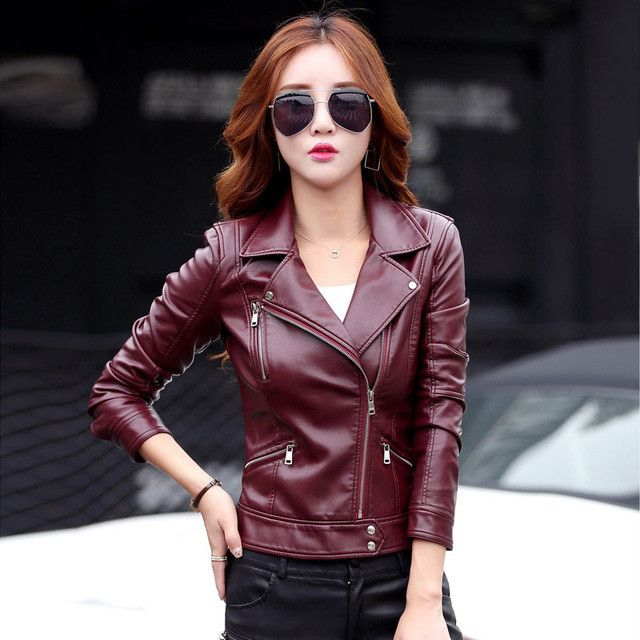 Plus Size S-3XL New Fashion 2017 Autumn Winter Women Leather Coat Female Slim Short Leather Jacket Women's Outerwear