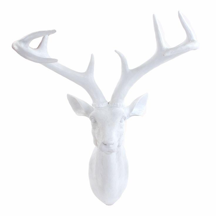 Hjort, veggoppheng hvit