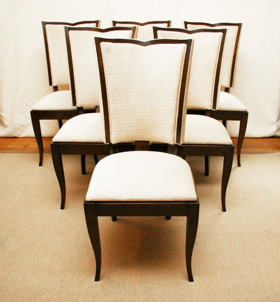 1930s Style French Upholstered Art Deco Dining Chairs Set Of 6 39 SALE 39
