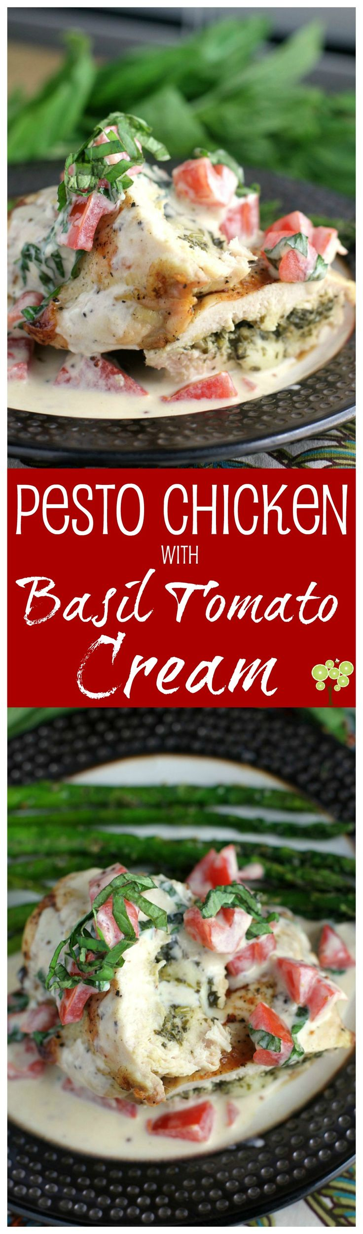 Pesto Chicken with Basil Tomato Cream from EricasRecipes.com