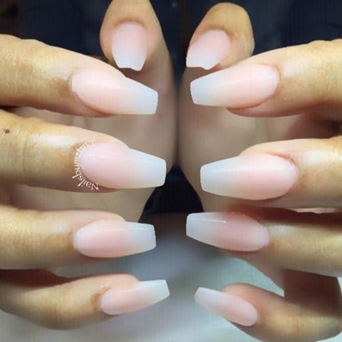Natural color acrylic nails