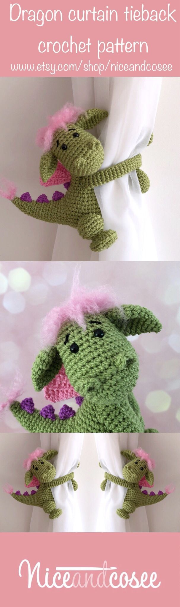 Dragon curtain tie back crochet PATTERN, tieback, left or right side crochet pattern PDF instant download amigurumi PATTERN – Anna Armstrong