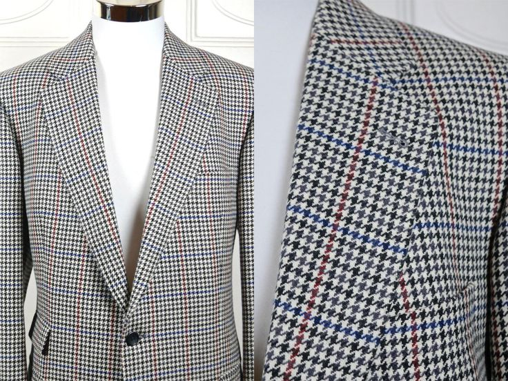 Vintage Burberrys Blazer, Wool Houndstooth Jacket, Black Gray Navy Blue Brick Red Winter White Check 1980s Sports Coat: Size XL, 44 US/UK by YouLookAmazing on Etsy