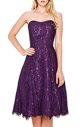 Women's Fashion Purple Prim Lace Strapless Sweetheart Fit Flare Dress