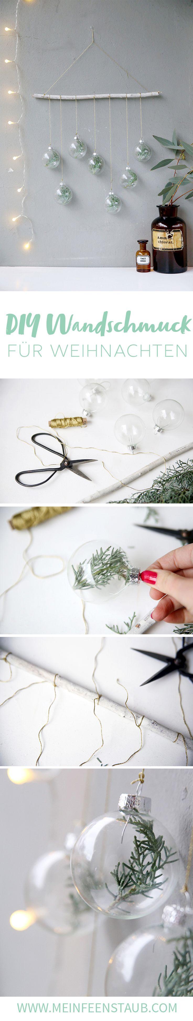 Kreative DIY Idee Für Weihnachten Und Selbstgemachte Weihnachtsdeko:  Wandschmuck Mit Tannenzweigen In Weihnachtskugeln |