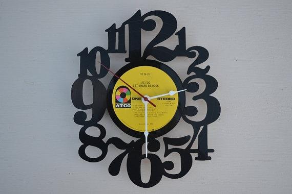 Handcrafted vinyl record clock artist is AC/DC by vinylclockwork, $23.00
