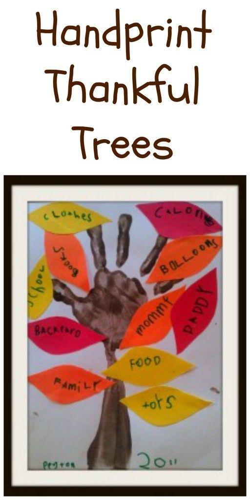 Handprint Thankful Trees Thanksgiving Kids CraftsSunday