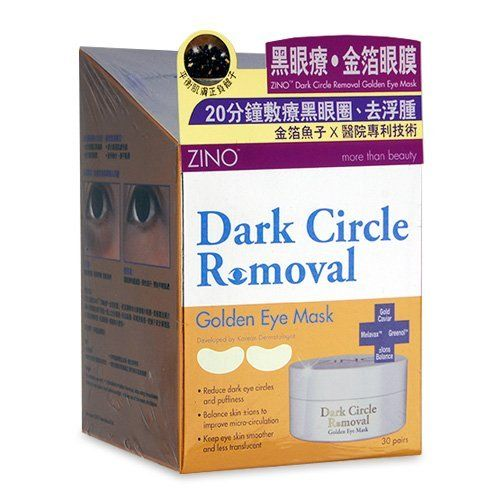 ZINO Dark Circle Removal Golden Eye Mask 30pairs by ZINO. $41.00. Say Good-bye to Dark Circles! 20 Mins Diminish Dark Eye Circles, Completely remove your dark eye circle!ZINO Dark Circle Removal Golden Eye Mask, developed by Korean Professional Dermatologist and authorized to manufacture, combines post-care of cosmetic surgery technology and efficient ingredients such as colloidal gold and caviar extract, which can address the different causes of dark eye circles.Anti-dark...