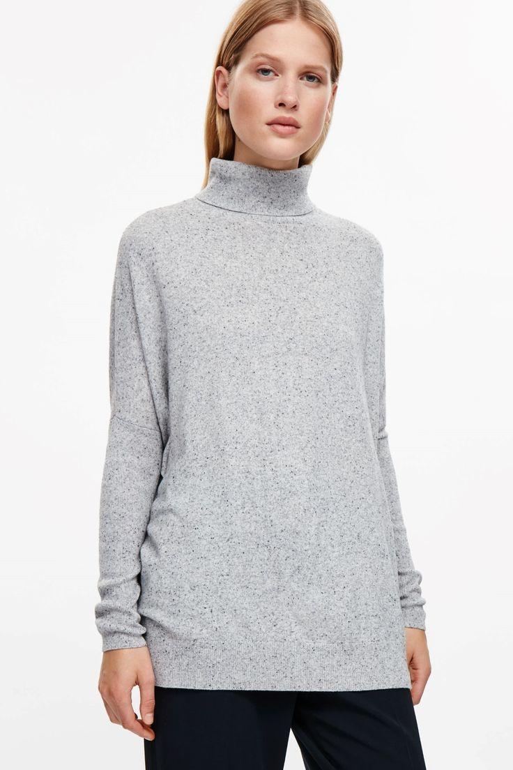 COS image 2 of Roll-neck merino jumper in Light Grey