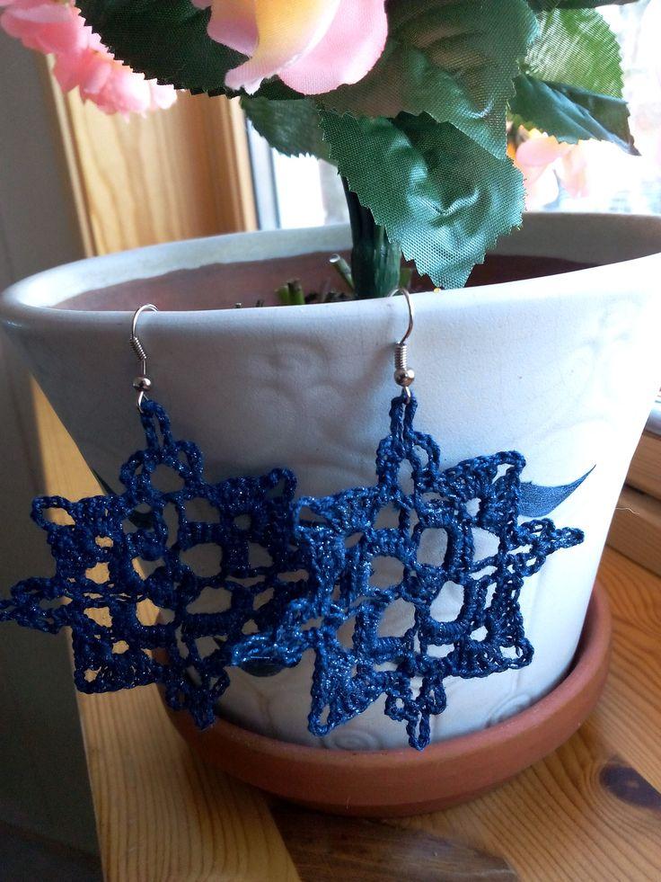 blue snowflakes earrings