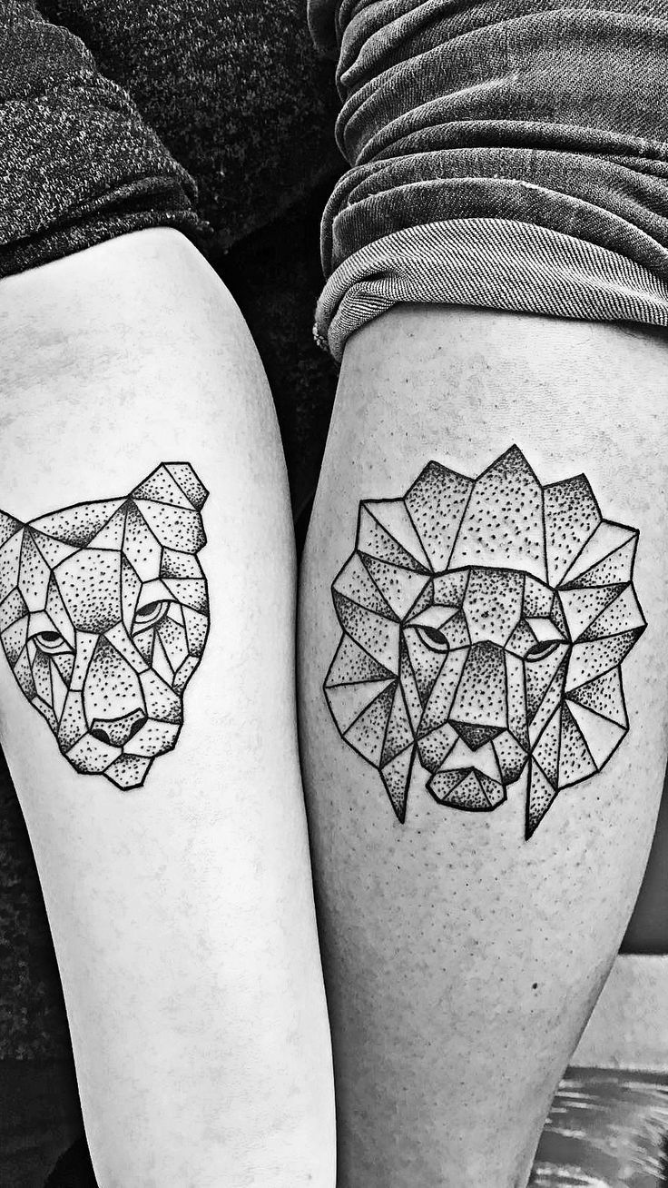 Geometric lion and lioness as couple tattoo. I chose the lion for my ...