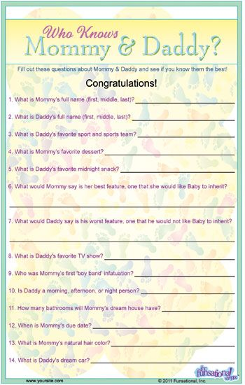 Mommy U0026 Daddy Trivia We Could Change Some If The Question To Make It  Personal : Girl Baby ShowersBaby ...