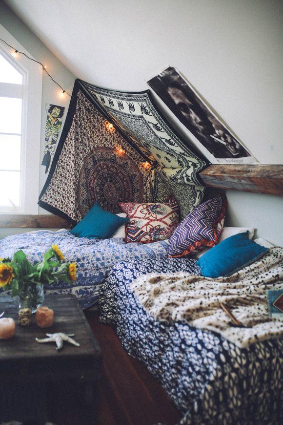 A cozy colorful boho spot for a creative retreat