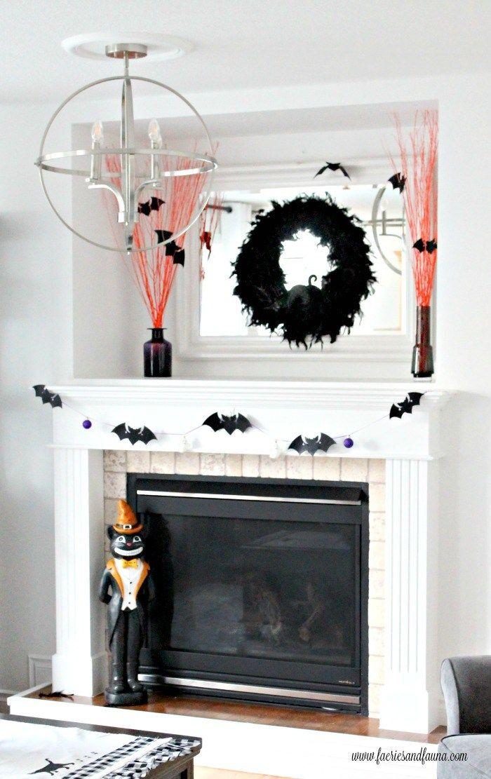 DIY Halloween Mantel with Three Easy Halloween Crafts Halloween