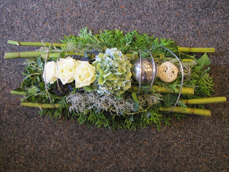Flower Arrangement with branches, rose, hydrangea and green - for Memorial