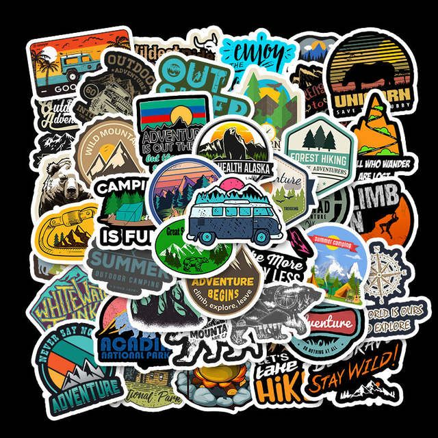 50* Hiking Adventure Outdoors-Sticker Vinyl-Laptop Luggage-Skateboard Decal DIY