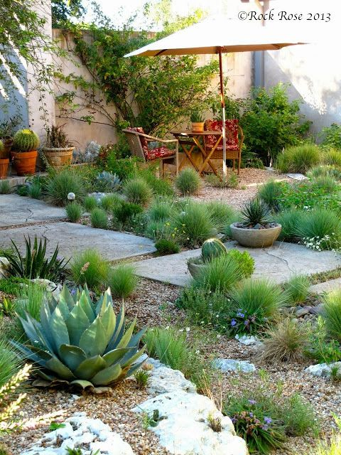 A drought-tolerant courtyard and rock garden instead of lawn. ROCK ROSE: THE RIGHT PLACES TO SIT IN THE GARDEN
