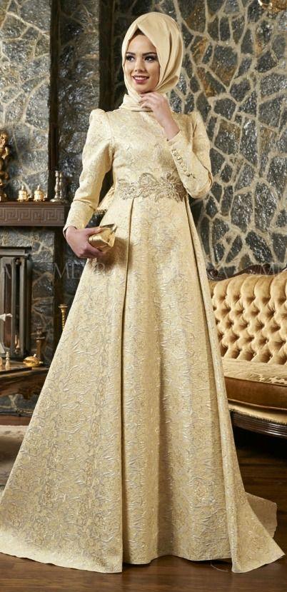 Kuyruklu Brokar Abiye Elbise Gold