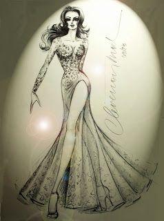 DESENHOS DE MODA: Desenhos de Moda. Vestido com fenda.: