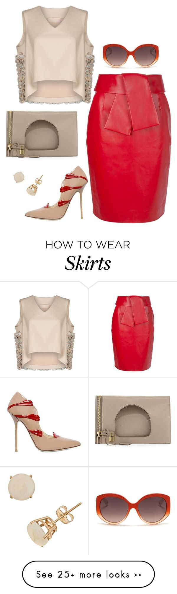 """""""My Skirt is just as red as my lips"""" by fashionkill21 on Polyvore featuring Balenciaga, Giannico, Ruban, Tom Ford and Christian Dior"""