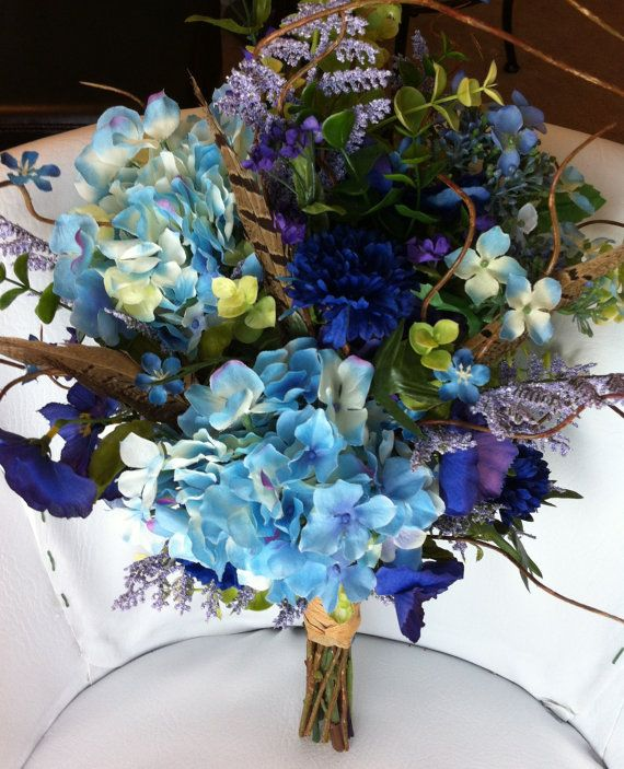 Purple, Blue  Green Wildflower Bridal Bouquet #wedding (silk not real )