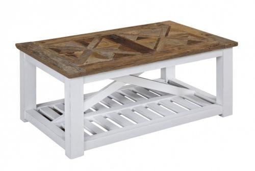 """Tøft og rustikt Avignon sofabord i en stilig fargekombinasjon! Bordet kombinerer moderne """"slitt hvitt"""" med tradisjonell mønstret naturtopp i resirkulert alm."""