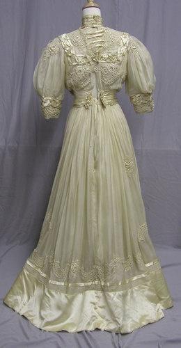 1900's Ivory Silk Tea Gown | eBay
