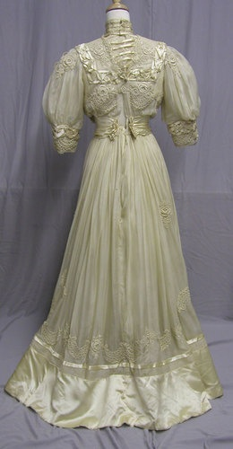 1900's Ivory Silk Tea Gown | eBay
