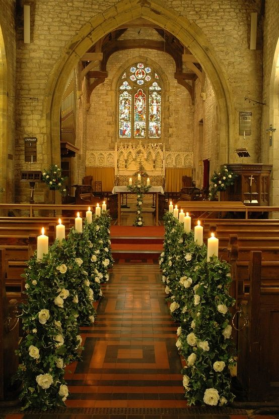 Church Wedding Aisle // Greenery & Candles