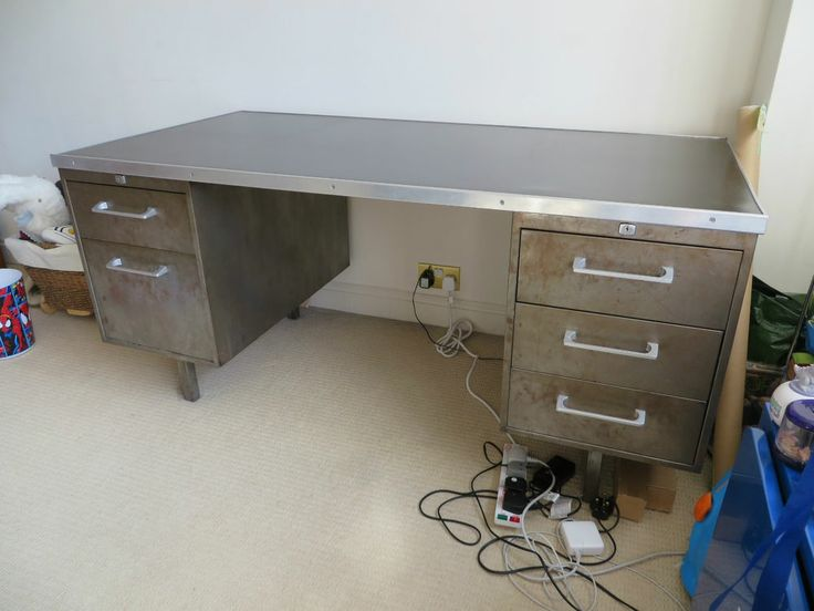 Quality Original Retro Vintage Galvanised Distressed Metal Desk