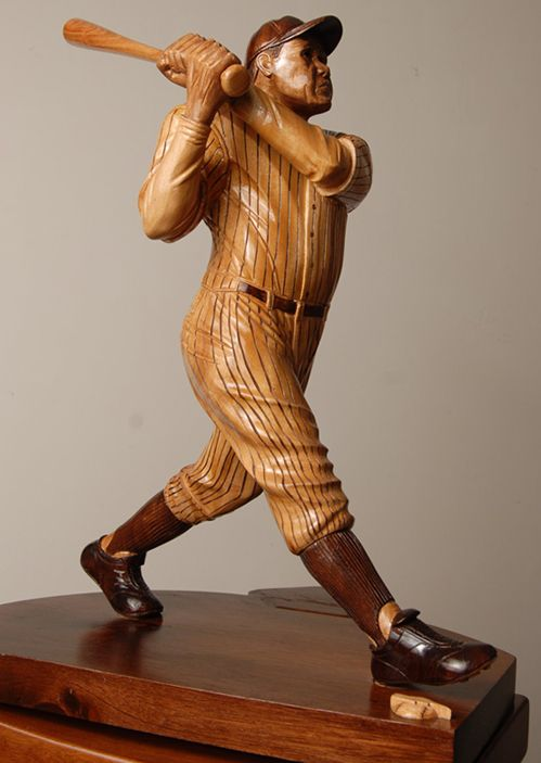 Baseball players wood carving name for