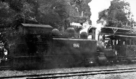 Train known as The Coffee Pot, Walhalla Station, pre 1945. Museum Victoria, Australia