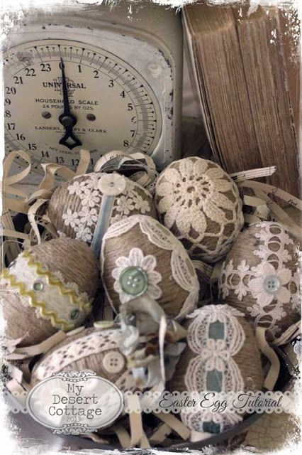 Twine and lace Easter eggs -**My Desert Cottage**: tutorials