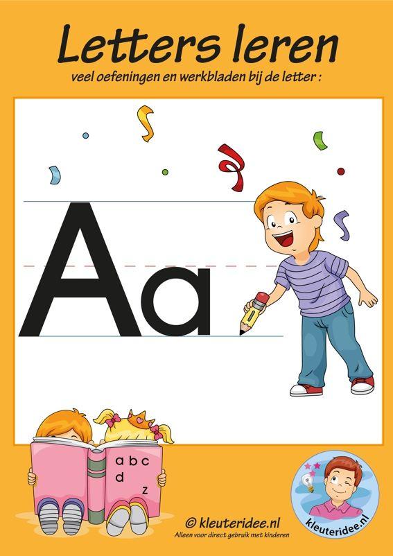 Pakket over de letter a blad 1, voorkant, letters aanbieden aan kleuters, kleuteridee.nl, free printable.