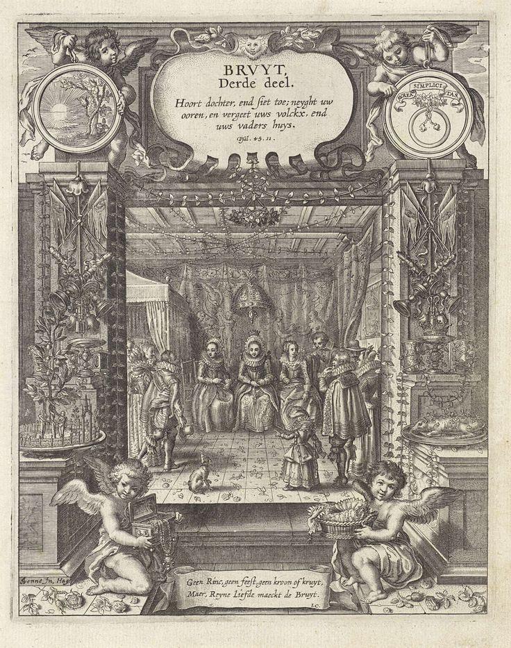 Adriaen Pietersz. van de Venne | Bruid tijdens haar huwelijksfeest, Adriaen Pietersz. van de Venne, Anonymous, Jacob Cats (1577-1660), 1625 - 1635 | Een bruid, geflankeerd door twee vrouwen, zittend op een stoel tijdens haar huwelijksfeest. In het interieur andere mannen en vrouwen en een kind. Op de grond liggen bloemen. Op de voorgrond twee putti; een met een mand met kantwerk en de ander met een kist met juwelen. Tussen hen in een banderol met een tekst die aangeeft dat alleen ware liefde…