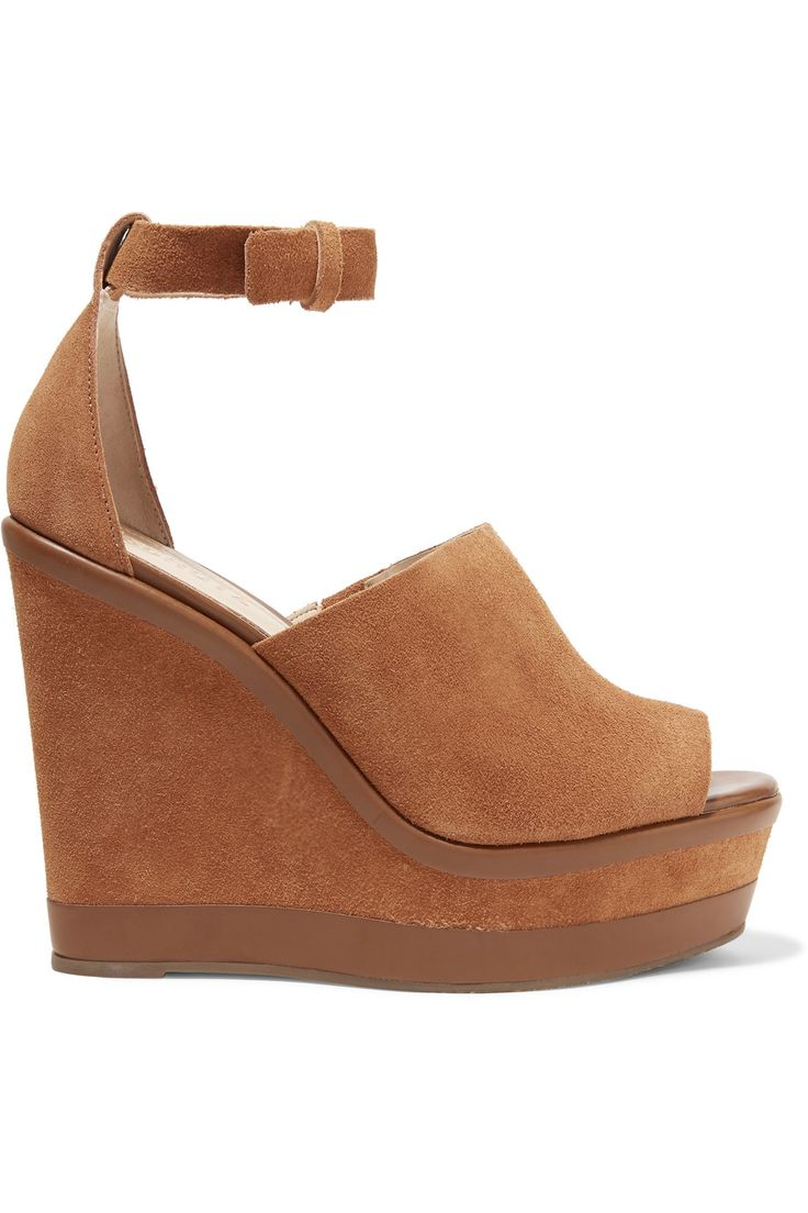 Shop on-sale Schutz Morlen leather-trimmed suede wedge sandals. Browse other discount designer Sandals & more on The Most Fashionable Fashion Outlet, THE OUTNET.COM